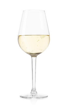 White sparkling wine glass isolated on white, clipping path