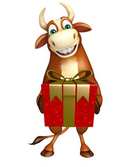 fun Bull cartoon character with Giftbox