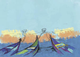 Digital painting. Modern Art. Boats and sea