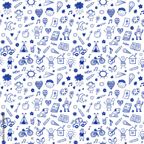 Seamless Pattern With Doodle Children Drawing Hand Drawn Funny Background