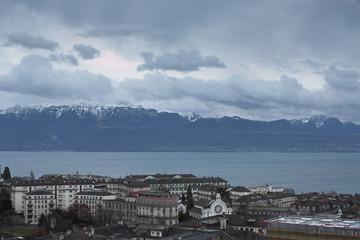 Lake Geneva under the autumn sky