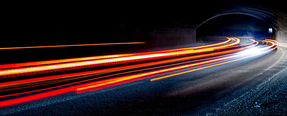 Printed roller blinds Night highway light trails in tunnel