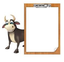 Bull cartoon character  with exam pad