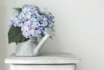 Hydrangea flowers in grunge zinc watering can on vintage wooden