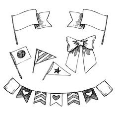 Hand drawn vector illustration - set of flags and ribbons. Desig