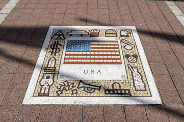 Colorful mosaic tiles, depicting Italy, it's flag and typical images from the country