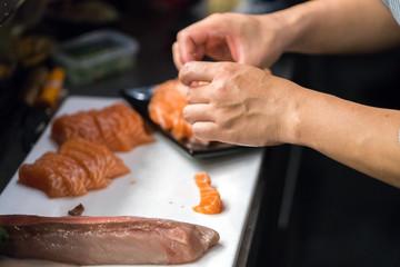 arrange salmon sashimi
