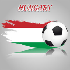 Flag of Hungary with the soccer ball. National flag in vintage style. Brush as a national flag.