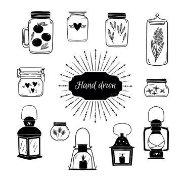 Hand drawn vector illustration - Set of Lanterns and Jars. Desig