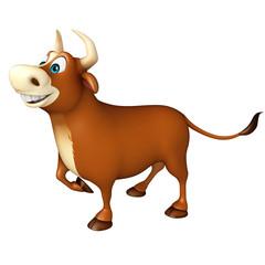 cute Bull funny cartoon character