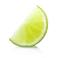Ripe lime slice on white background
