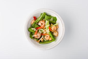 Caesar salad with shrimp, parmesan and croutons
