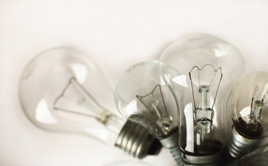 set of the different vintage electric bulbs