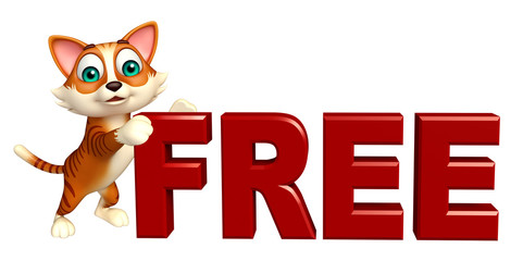 cute cat cartoon character with free sign