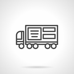 Lorry ad black line vector icon