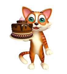 fun cat cartoon character with cake