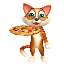 fun cat cartoon character with pizza