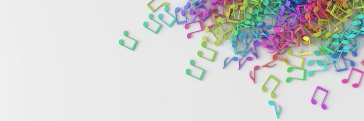 Infinite musical notes 3d rendering