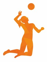 Silhouette of woman playing volleyball