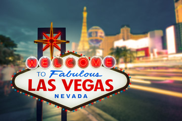 Aluminium Prints Las Vegas Welcome to fabulous Las vegas Nevada sign with blur strip road b