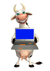 cute Cow cartoon character with laptop