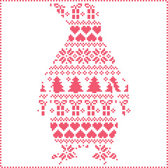Scandinavian Nordic winter stitching  knitting  christmas pattern with penguin shape including snowflakes, hearts, trees christmas presents, snow, stars, decorative ornaments on white background