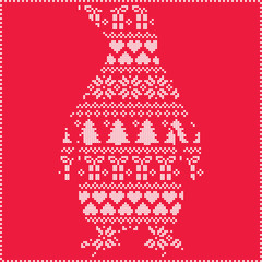 Scandinavian Nordic winter stitching  knitting  christmas pattern with penguin shape including snowflakes, hearts, trees christmas presents, snow, stars, decorative ornaments on red background
