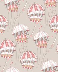 Red umbrellas. Vector pattern illustration.