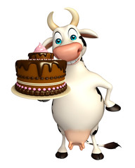 fun Cow cartoon character with cake
