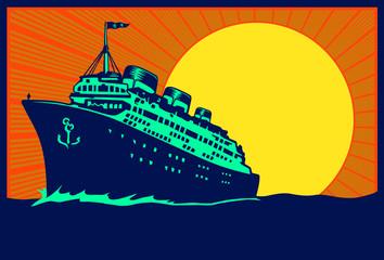 Vintage travel poster illustration transatlantic ocean liner cruise ship, retro traveling tourism vector