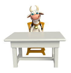 cute Cow cartoon character with table and chair