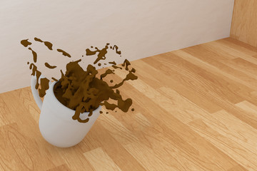 3D rendering of Coffee spill on a wooden table