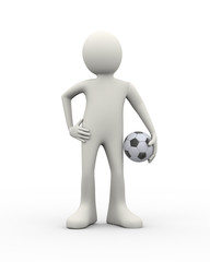 3d soccer football player with ball