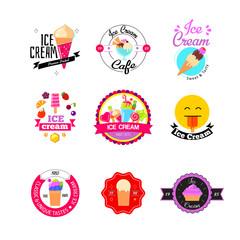 Flat ice cream stickers