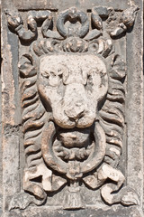 Lion head stone carving