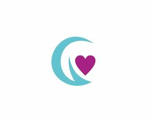 letter g love vector logo