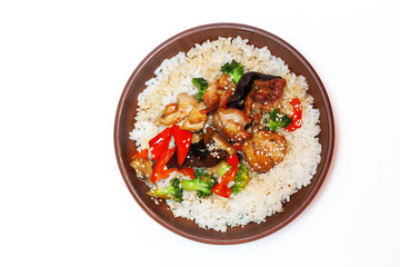traditional Chinese dishes, rice with chicken and vegetables on