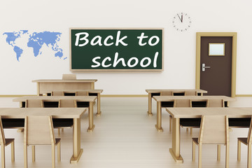 Empty classroom, 3d illustration, Back to school