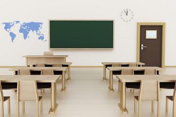 Empty classroom, 3d illustration