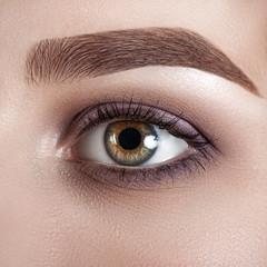 Female eye close-up. Macro. Perfect makeup and eyebrows. Beautiful green eyes