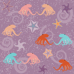 Seamless pattern with octopuses and stars