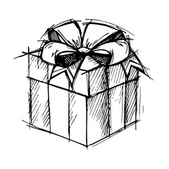 Hand drawn illustration - Magic gift box. Vector