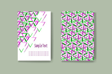 Abstract geometric brochure business card. Vector templates with place for your text. Flyer layout with triangle pattern.