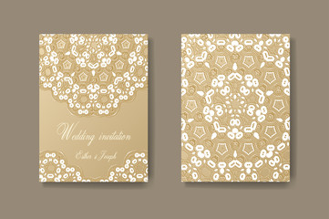 Wedding invitation decorated with white lace, vector background divider, header, ornamental frame template. Flyer layout.