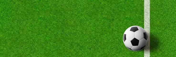 Banner mit Rasen und Fußball