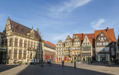 Town Hall and facade of half timbered houses on the Market Squar