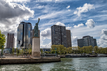 Paris Statue of liberty on river