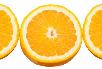 Orange citrus fruit part isolated on white