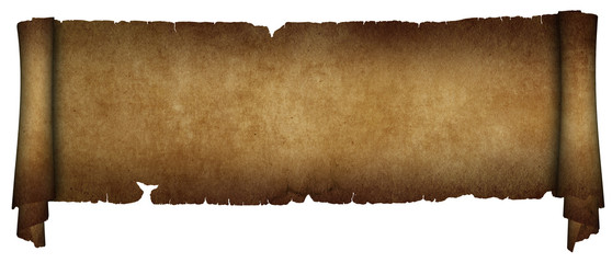 Antique parchment scroll on white background.