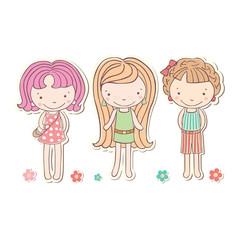 three girls little funny isolated, vector cartoon